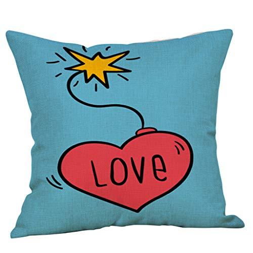 Yvelands Saint Valentin Style Lin Carré Taie d'oreiller Imprimé Romantique Doux Coussins Lombaires Coussins RelèVe-Jambes(D)