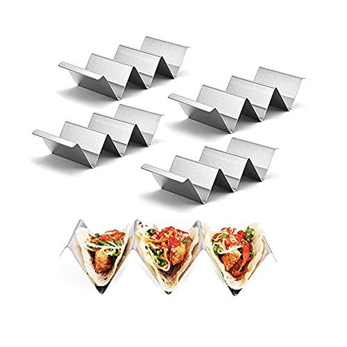 Soporte para Tacos,4 Piezas Bandeja para Tacos,Soporte para Tacos de Acero Inoxidable,Soportes para Burritos,3 Compartimentos Herramienta de Cocina de Autoservicio para Burritos con Asas