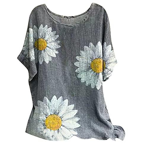 Sommer-T-Shirt für Damen, aus Baumwollleinen, trendig, kurzärmelig, leger, Blumenmuster, Tunika, Tees, bequem, weich, Rundhalsausschnitt, fließende Blusen (Clearance,on Sale,!! Deals of the Day!!) - A01#grau Paisley, size: 3X-Groß