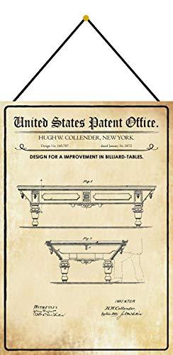 NWFS Patent Entwurf für einen Billardtische Blechschild Metallschild Schild Metal Tin Sign gewölbt lackiert 20 x 30 m.Kordel