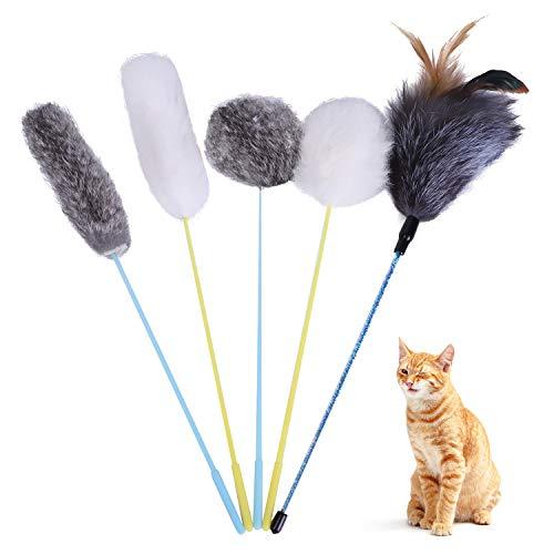 Toozey Katzenspielzeug Set, Katzen Spielzeug Federspielzeug 5Pcs