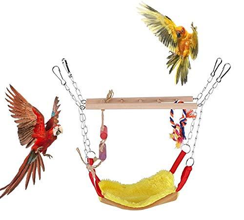 HEEPDD Papegaai Swing Ladder, Huisdieren Vogels Klimmen Speelgoed Houten Ladder Warm Hangmat Katoen Touw Kooi Opknoping Decor voor Kleine Dieren Ferret Papegaaien Rat Hamster, Geel