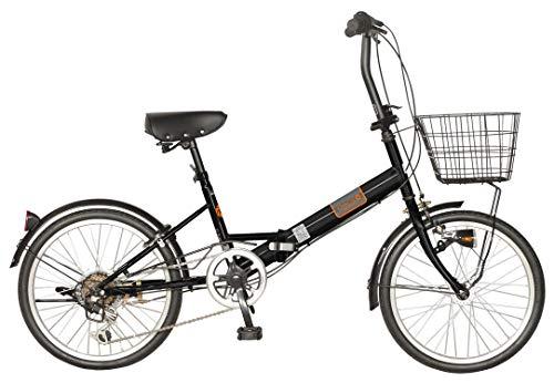 チャクル(CHACLE) パンクしないエアレスタイヤ標準装備 カゴ付き 20インチ 折りたたみ自転車 6段変速 LEDオートライト仕様 [スペアキー対応ディンプルキーリング錠 8倍明るいオートライト] FDS-CC206C-HD ブラック