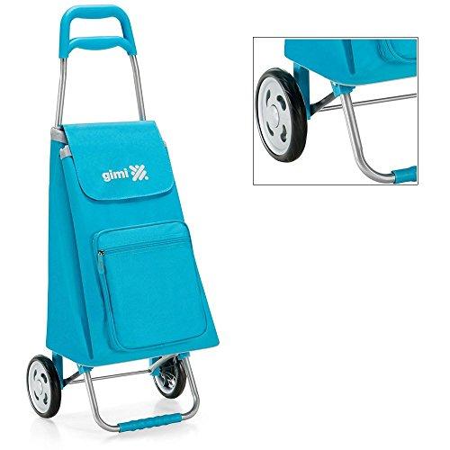 Gimi - Carro de la compra, color azul, con estructura de acero y bolsa de poliéster, modelo Argo