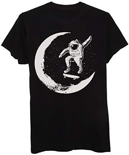 New Indastria T-Shirt Skate Astronauta sulla Luna - Street & Social - Bambino-M-Nera