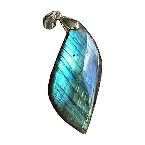 Colgante de labradorita natural, joyería de cuentas de cristal de labradorita para mujeres y hombres, 43 x 19 x 10 mm, piedra de luna de plata amarilla y azul claro AAAAA
