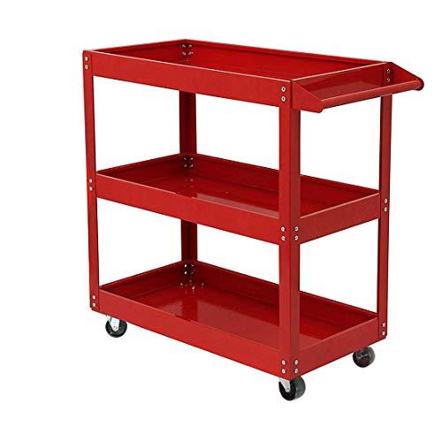 AllRight 3 Tier Shelf Tool Cart Storage Wheel Cart Trolley Heavy Duty Garage Workshop DIY Tool 450lb Red