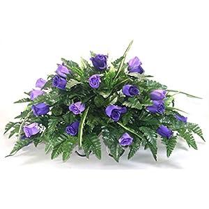 R13 Purple Rose Buds Cemetery Flower Arrangement, Headstone Saddle, Grave, Tombstone Arrangement, Cemetery Flowers