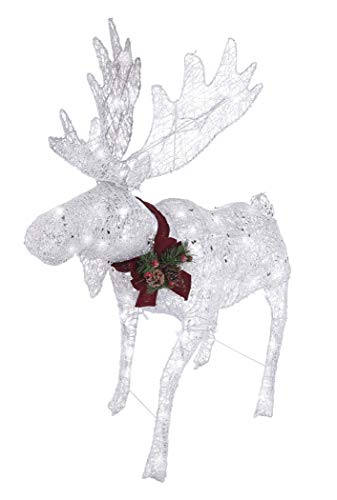NOMA Pre-Lit LED Light Up Moose | Christmas Holiday Lawn Decoration | Indoor/Outdoor | 4' Feet