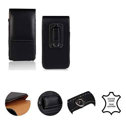 K-S-Trade Holster Gürtel Tasche Handy-Hülle Schutz-Hülle Kompatibel Mit OnePlus 6T McLaren Edition Handy Hülle Leder Schwarz, 1x