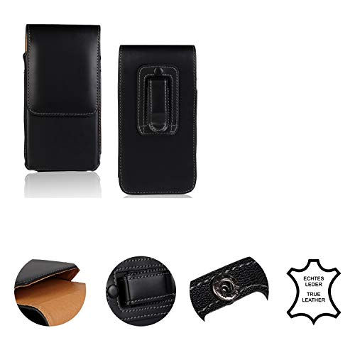 K-S-Trade Leder Gürtel Tasche + Kopfhörer Kompatibel Mit Ruggear RG760 Seitentasche Belt Pouch Holster Handy-Hülle Gürteltasche Schutz-Hülle Etui Schwarz 1x