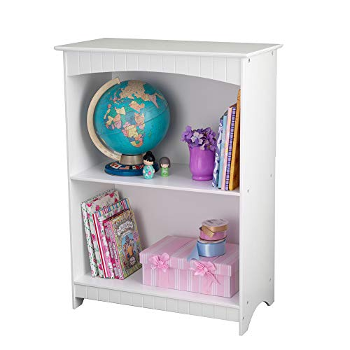 KidKraft Nantucket Children's Wooden 2-Shelf Bookcase with Wainscoting Detail - White, Gift for Ages 3+