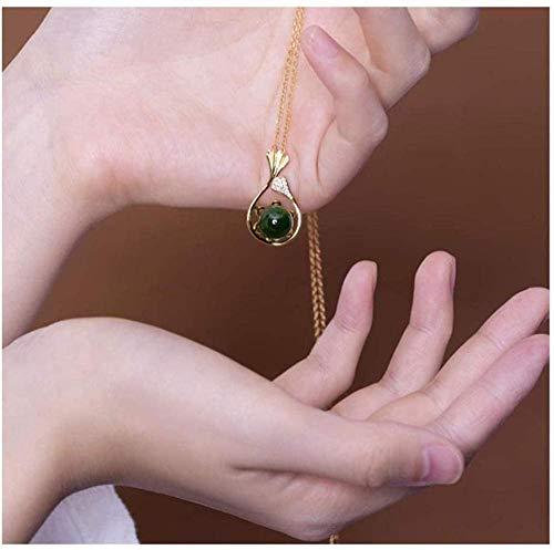 NC110 Conjunto de Collar con Colgante Conjunto de Pendientes en Forma de Abanico con Cuentas Redondas de Jade Blanco Hetian 925 Regalo de joyería con Cadena de 42cm + 55cm YUAHJIGE
