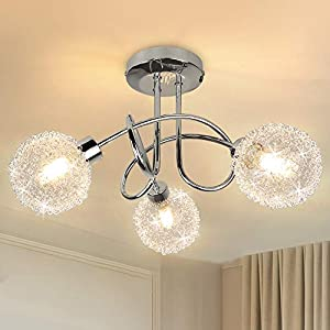 Modern 3-Light Semi Flush Mount Ceiling Light Fixture, Depuley Contemporary Globe Ceiling Lamp with Wire Shade, Elegant Chandelier for Bedroom, Kitchen, Hallway, Dining Room Lighting, G9 Base