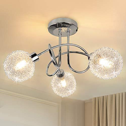 Depuley LED Deckenleuchte Modern mit 3 Flammig, Küche Deckenlampe Chromoptik Lampenschirme aus Mesh und Glas Inkl. 3 x G9 Fassungen, Kugelform Deckenspot für Wohnzimmer Schlafzimmer, ohne Glühbirne