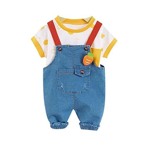 Loalirando Completini Unisex Bambini Maniche Corte + Salopette di Jeans Tuta con Tasche Grandi Gamba Elastica Estivo Abbigliamento Bambino Set Abiti in Cotone (Giallo, 6-12 Mesi)