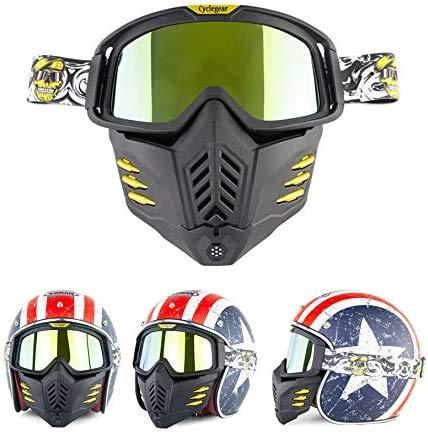 Máscara de casco Jet o Motocross - Universal – Máscara para moto - Gafas de protección – Resistente al viento, anti vaho talla única Lente Dorata
