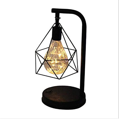 ZHOU YANG Simple Retro Iron Table Lamp, AA Battery Hollow Diamond Retro Night Light Reading Lamp Bedroom Bedside Lighting