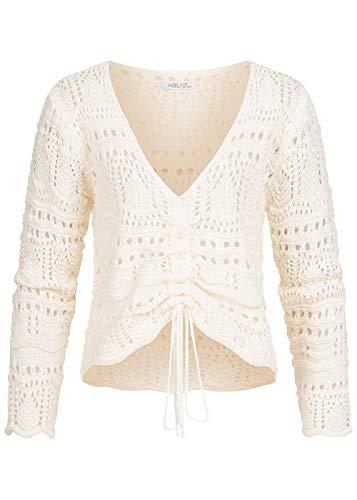 Hailys Damen V-Neck Grobstrick Pullover vorne zum raffen Lochmuster Cream beige