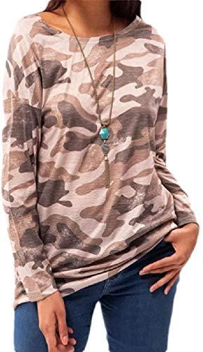Women's Long Sleeve Stylish Camo Print Crewneck T-Shirts Top Blouse,Khaki,XX-S