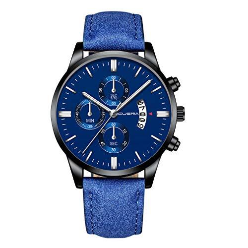 Quartz Uhren für Herren, Skxinn Herrenuhren,Männer Armbanduhr Analog Business Minimalistische Quartz Armbanduhren mit Kunstlederband, Ausverkauf(B,One Size)