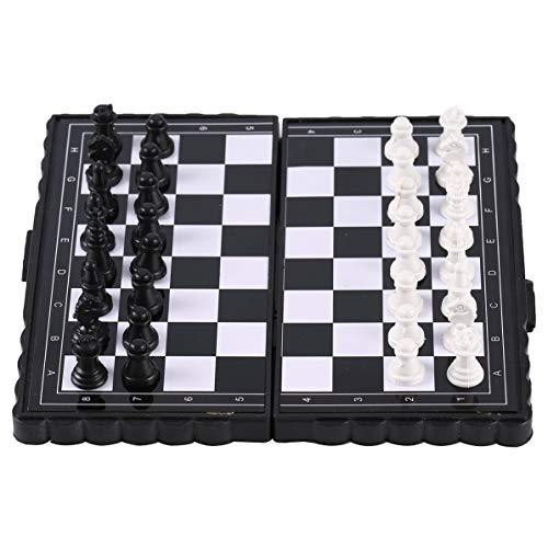 Sunnyflowk portátil plegable bolsillo magnético plástico ajedrez ajedrez entretenimiento para fiesta (negro + blanco)