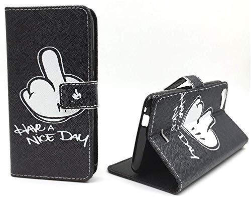 König Design Handyhülle Kompatibel mit Wiko Rainbow Jam Handytasche Schutzhülle Tasche Flip Hülle mit Kreditkartenfächern - Have A Nice Day Weiß Schwarz