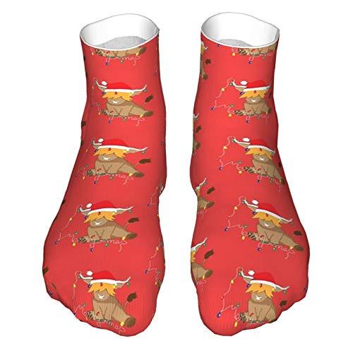Süße Highland Kuh Weihnachtsbeleuchtung Rot Santa Hut Erwachsene Socken Low-Cut Socken Casual Socken Atmungsaktive Sportsocken Unisex 30cm