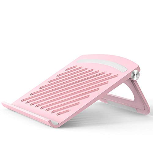 BUBU Laptop stand for Home Office - Small adjustable laptop desk stand, Portable Laptop Holder Ergonomic Notebook Stand Foldable Portable Ventilated Desktop Laptop Holder, Cooling Stand Pink