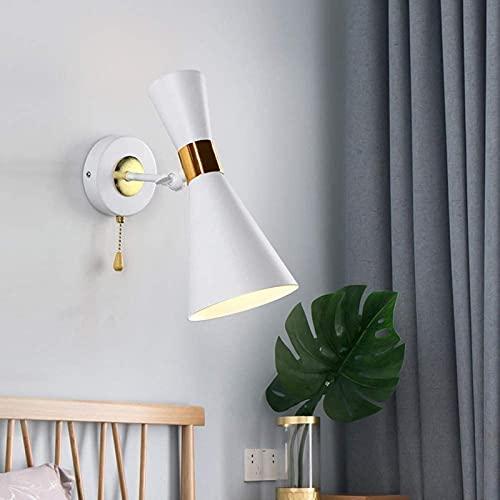 FDABFU Aplique de Pared con Interruptor de ángulo Ajustable, diseño de Cuerno, lámpara de Pared LED con Pantalla de Hierro E27, Apliques de Pared Modernos nórdicos, para Vivir