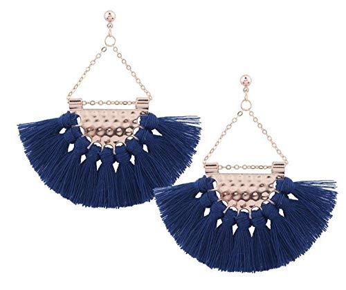 Moda grandes pendientes de borla en forma de abanico pendientes femeninos de estilo de gama alta joyería de moda exagerada-azul real