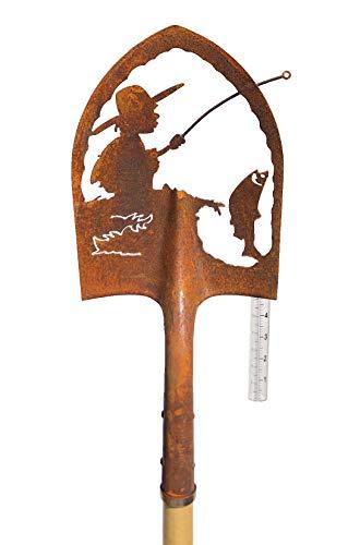 Crispe Edelrost Deko-Schaufel mit Regenmesser - Angler - Gartendekoration für außen, Höhe: 180 cm