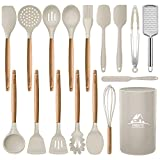 Mibote 17 Pcs Silicone Cooking Kitchen Utensils Set with Holder, Wooden Handles BPA Free Non Toxic Silicone Turner Tongs Spatula Spoon Kitchen Gadgets Utensil Set for Nonstick Cookware (Kahki)
