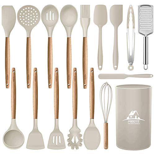 Mibote 17 Pcs Silicone Cooking Kitchen Utensils Set with Holder, Wooden Handles BPA Free Non Toxic Silicone Turner Tongs Spatula Spoon Kitchen Gadgets Utensil Set for Nonstick Cookware (Khaki)