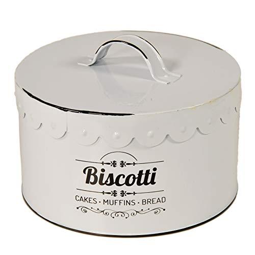 Gicos Barattolo biscottiera Contenitore in Latta Bianca 18 * 10 cm Tonda utilissimi ESP-720130