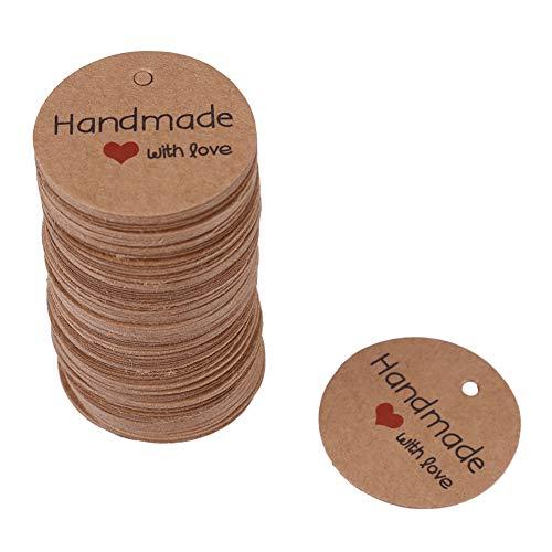 Fdit Etichette Regalo d'Amore Fatte a Mano da 100 Pezzi Etichette Regalo Fatte a Mano dipinte Rotonde Etichette Regalo Kraft per Decorazioni Natalizie da Appendere(Handmade with Love)