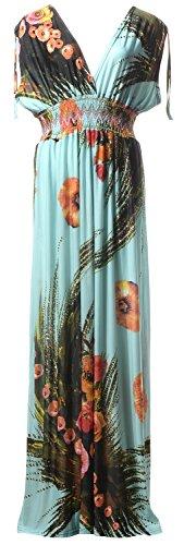 QZUnique Women's Plus Size V-Neck Sleeveless Elastic Waist Bohemian Beach Dress Maxi Dress 5XL (Apparel)