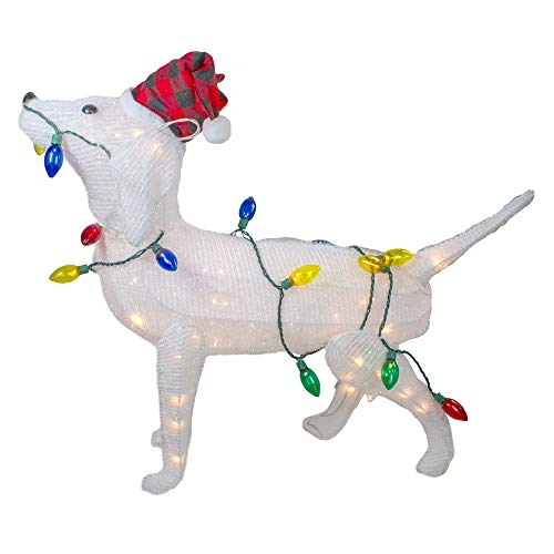 34' White Lighted 3D Standing Dog Christmas Outdoor Decoration