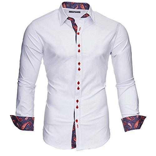 Kayhan Uomo Camicia, Royal Paisley Bordeaux/White S
