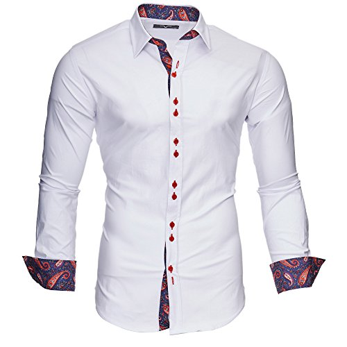 Kayhan Hombre Camisa Manga Larga Slim Fit S - 6XL Modello Royal
