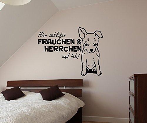 Wandtattoo Chihuahua Spruch hier schlafen Frauchen & ich sticker Tier Hunde Tür Bad Aufkleber Schlafzimmer 1B086, Farbe:Dunkelgrau Matt;Breite vom Motiv:85cm