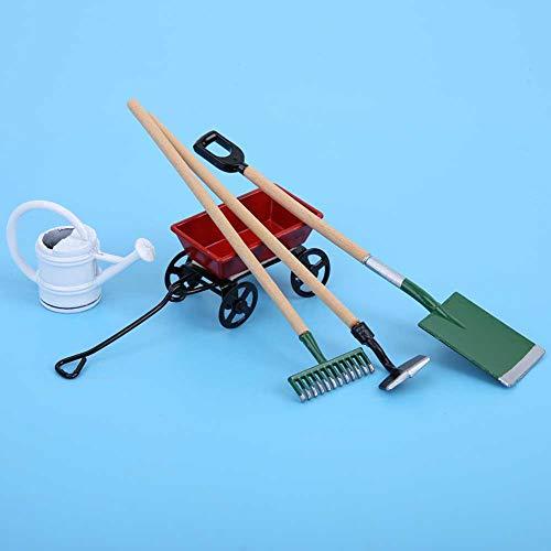 AMONIDA 【Venta del día de la Madre】 Herramientas de jardinería de casa de muñecas, Caja de Herramientas de Agricultura en Miniatura 1/12 Herramientas de Agricultura de casa de muñecas Modelo de ja