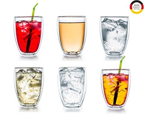 "Creano doppelwandiges Thermoglas 250ml ""DG-Hoch"", 6er Set, großes hitzebeständiges Trinkglas aus Borosilikatglas, Kaffee-/Teeglas"