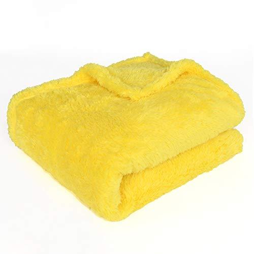 EHC Teddy Super Soft Fleece Wärmesofa-Decke mit warmem Wurf 130 x 170 cm - Gelb