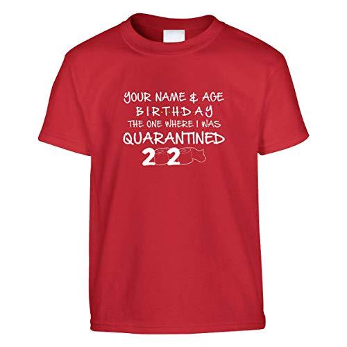 Amo Distro Social Distancing, maglietta per bambini, personalizzabile con nome di compleanno, classe di quarantena 2020 (unisex) Rosso 7-8 Anni