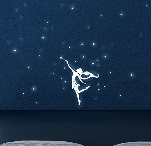 Wandtattoo Elfe Fee fluoreszierend Leucht Punkte Wandtattoo Punkte fluoreszierend leuchtende Elfe Feen Sternenhimmel Leuchtsticker M1165