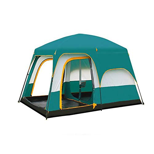 WER Tent 6/8 Person Family Camping Tent Windproof And Rainproof, Double Deck, Separate Room, Suitable For All Seasons (Color : Green, Size : 169 * 120 * 79in)