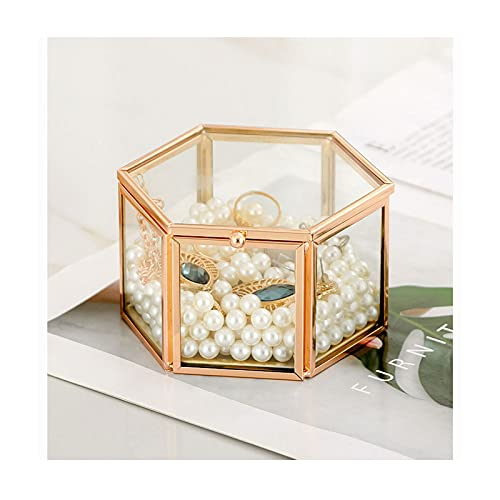 WPJ Caja de joyería de Cristal Vintage Golden Geométrico Joyería Mostrar Caja Organizador Caja Decorativa Hogar Caja para el Almacenamiento Pendiente Anillo (Color : B)