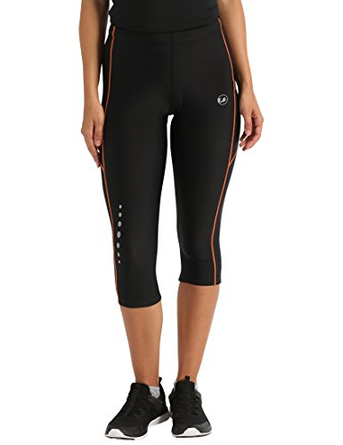 Ultrasport Damen Laufhose 3/4 lang tight mit Quick-Dry-Funktion, black orange, S, 10277