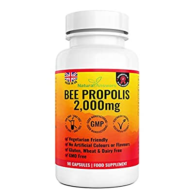 Bee Propolis 2000mg - 45 Servings 90 Vegetarian Capsules - Bees Propolis Propoli Pure Propolis Natural Anti-Inflammatory UK Manufactured by Natural Answers